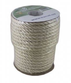 Bleached jute rope, diameter 8mm, coil 25 meters - 17515