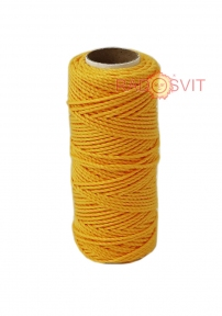 Cotton twine warm yellow color, 45 meters - 17482