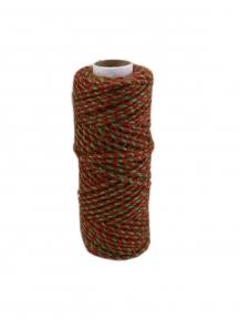 Шнур джутовий червоно-зелений, 50 метрів