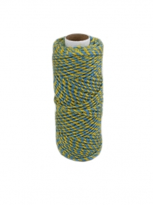 Jute cord yellow-blue, 50 meters - 17580