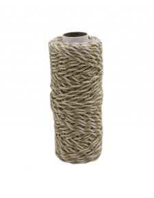 Jute+cotton cord, natural-white color, 50 meters