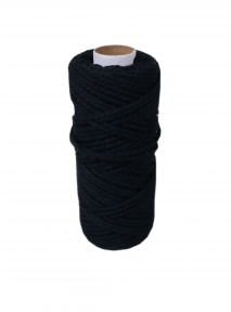 Cotton cord black, 50 meters - 17621