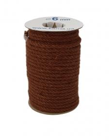 Jute rope, brown color, diameter 6mm, 25 meters