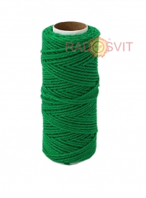 Cotton twine, dark green color, 45 meters - 17480