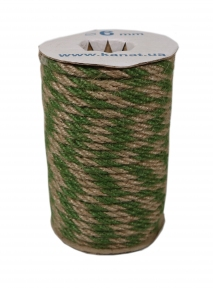 Jute rope natural-green, diameter 6mm, step of color 2+2, 25 meters - 17627
