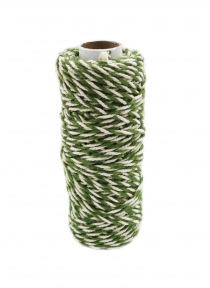 Шнур джут-бавовна зелений-білий, 50 метрів